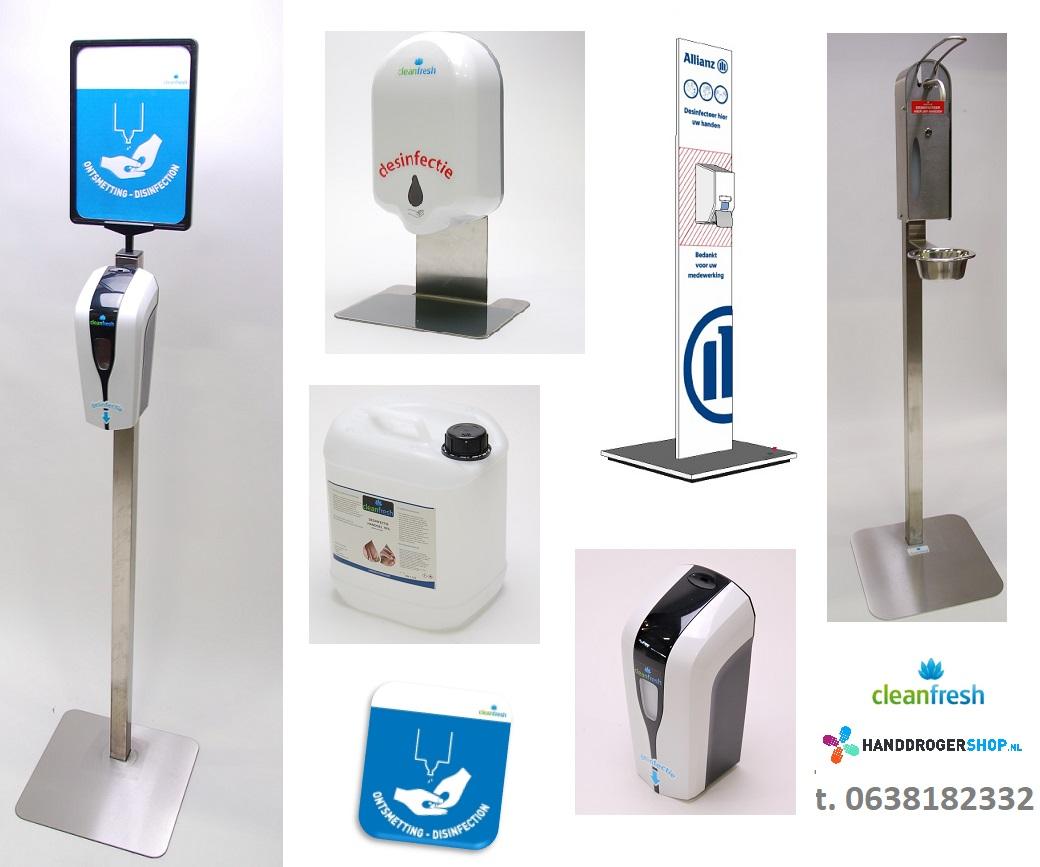 assortiment hygiene zuilen van cleanfresh en handdrogershop.nl